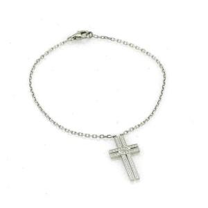 Cartier Diamond 18k White Gold Fancy Dangle Cross Charm Chain Bracelet