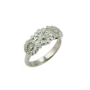 Tiffany & Co. Diamond 3 Rose Platinum Band Ring Size 6