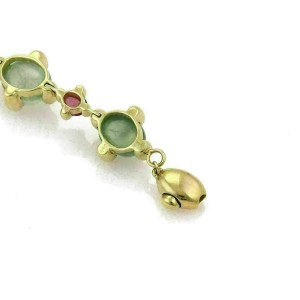 Green & Pink Tourmaline 18k Yellow Gold Oval Link Bracelet