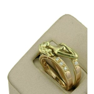 Carrera y Carrera Diamond 18k Two Tone Gold Carved Woman Ring