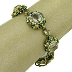Vintage Amethyst & Enamel Fancy Cushion Link 14k Gold Bracelet