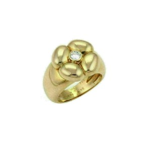 Van Cleef & Arpels Diamond 18k Yellow Gold Puffed Floral Ring