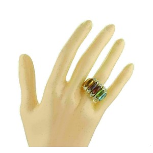 Estate Diamond Multicolor Gems 18k Yellow Gold Large Band Ring