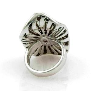 Roberto Coin Vintage Diamonds & Enamel Concave 18k White Gold Ring