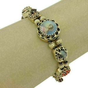 Estate 14k Yellow Gold Multicolor Gemstone Slide Charm Bracelet