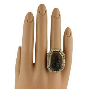 Diamond & Carnelian High Relief Carved 14k Gold Julius Caesar Ring