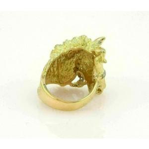 Estate Diamonds & Ruby Horse Head 18k Yellow Gold Ring