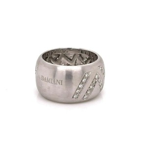 Damiani Diamonds 18k White Gold 12.5mm Wide Dome Band Ring
