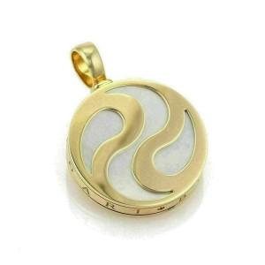 Bvlgari Optical Illusion MOP 18k Yellow Gold Steel Round Spinner Pendant