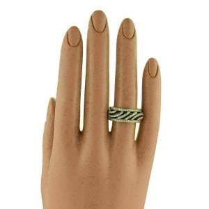 Hidalgo Diamonds & Brown Enamel 18k Yellow Gold Open Band Ring & Insert