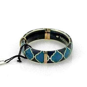 Nouvelle Bague Diamond Blue Enamel 18k Gold Sterling Bangle Bracelet