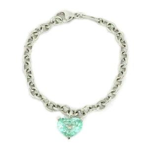 Chopard So Happy Diamond Green Stone 18k White Gold Heart Bracelet w/Cert.