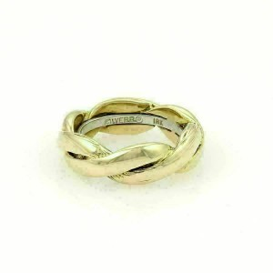 Estate David Webb Braided 18k Two Tone Gold Band Ring