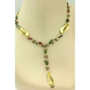 Kurt Gutman Multicolor Tourmaline 18k Yellow Gold Beaded Lariat Necklace