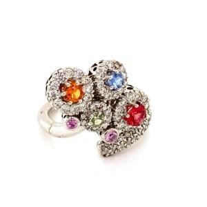 Multicolor Sapphire & Diamond 18k White Gold Movable Ring