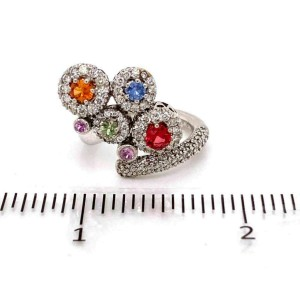 Multicolor Sapphire & Diamond 18k White Gold Movable Ring