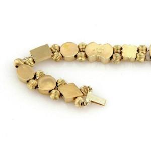 Estate Multi-Color Gems 14k Yellow Gold 11 Slide Charms Chain Bracelet