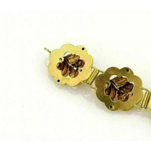 Antique Blue Enamel & Seed Pearl Rose 14k Yellow Gold Link Bracelet