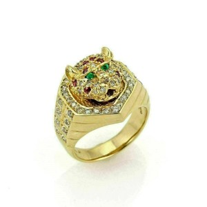 Estate 1.08ct Diamond Ruby & Emerald 18k Gold Moving Tiger Head Ring