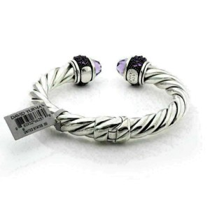 David Yurman Amethyst Sterling Silver 9mm Thick Cable Cuff Bangle Bracelet