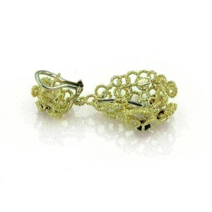 Estate Diamonds & Rubies18k Gold Wire Circle Dangle Earrings