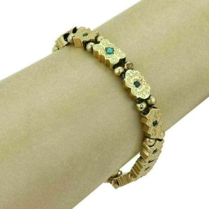 Estate Multicolor Gems 14k Yellow Gold Slide Bracelet