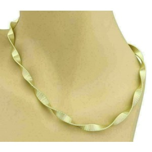 """Estate 14k Yellow Gold 6.2mm Wide Fancy Twisted Necklace 18"""" Long"""