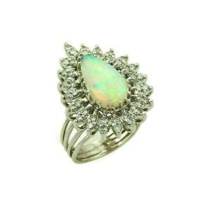 Estate Diamonds & Fire Opal 14k White Gold Cocktail Pear Shape Ring