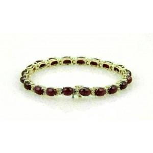 Estate 20.25ct Cabochon Rubies & Diamond Tennis 14k Yellow Gold Bracelet