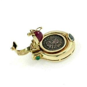 Ruby Emerald Sapphire 14k Yellow Gold Silver Coin Fancy Pendant