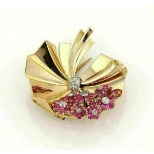 Retro 2.40ct Rubies & Diamonds Fancy Flower 14k Rose Gold Brooch Pin