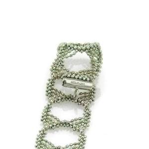 Tiffany & Co. Wide Beaded Fringed Fancy Design 18k White Gold Bracelet