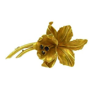 Estate Amethyst 14k Yellow Gold Lilly Flower Brooch & Screw Earrings Set