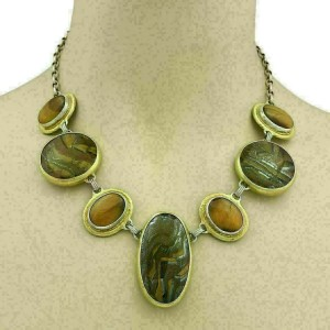 Gurhan One of a Kind Galapagos Tiger Eye Sterling & 24k Gold Necklace