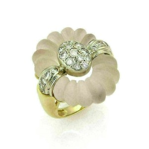 Estate 1.00ct Diamonds Camphor Frosted Crystal 14k Two Tone Gold Ring