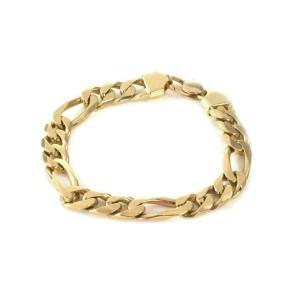 14k Yellow Gold Figaro Chain Link 8.5mm Wide Bracelet