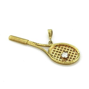Diamond Tennis Racket 14k Yellow Gold Pendant