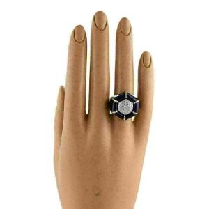 Diamonds & Enamel 18k Yellow Gold Fancy Design Ring