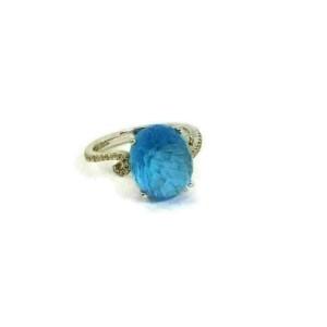 Gabriel & Co. Diamond Blue Topaz 14k White Gold Ring