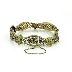 Antique 18k Gold Man Made Ruby Fancy Long Floral Open Link Bracelet