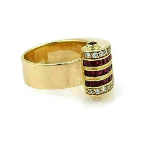 Estate 1.50ct Diamond & Ruby 18k Yellow Gold Fancy Wave Band Ring