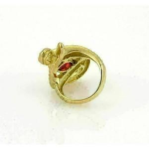Estate Diamonds & Pink Tourmaline18k Yellow Gold Snake Ring