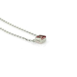 Cartier Tank Pink Tourmaline 18k White Gold Square Pendant Necklace