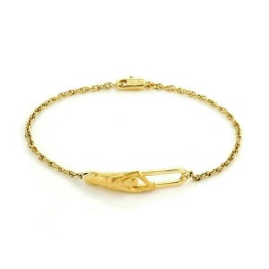 Carrera y Carrera 18k Yellow Gold 3D Man Long Bar Rope Chain Bracelet
