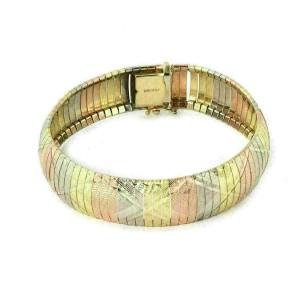 Diamond-Cut Wide Flex 14k Tri Color Gold Dome Bracelet