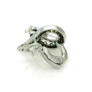 Diamond & Ruby 18k White Gold Coiled Post Clip Earrings