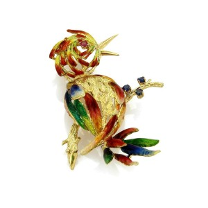 Vintage Sapphire Ruby & Enamel Large Parrot 18k Yellow Gold Brooch Pin