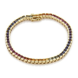 Multicolor Sapphires Square Link Tennis Bracelet in 18k Yellow Gold