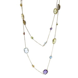 Gemstone Station Long Chain Necklace in 14k Yellow Gold