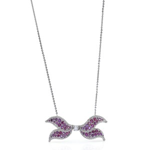 Diamond Ruby Butterfly Motif Pendant Necklace in 14k Gold Platinum Recycled